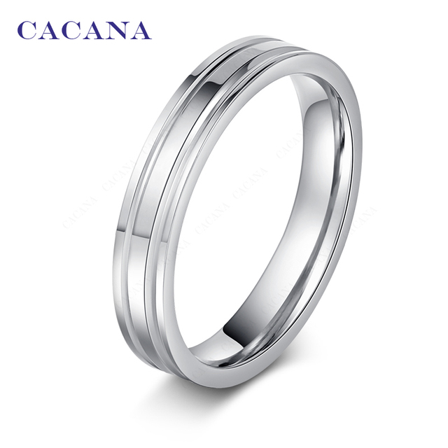 CACANA Titanium Stainless Steel Rings For Women Mirror Shining Fashion Jewelry W