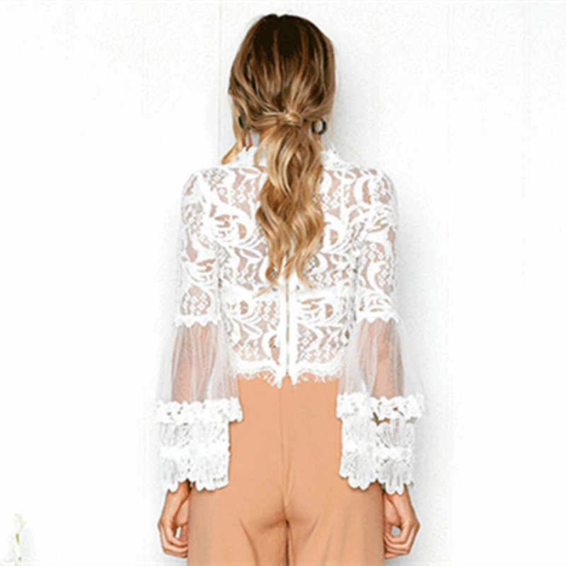 Sıcak moda kadınlar Lady seksi sheer dantel bluz çiçek patchwork Hollow uzun kollu see through gömlek zarif plaj Blusas tops
