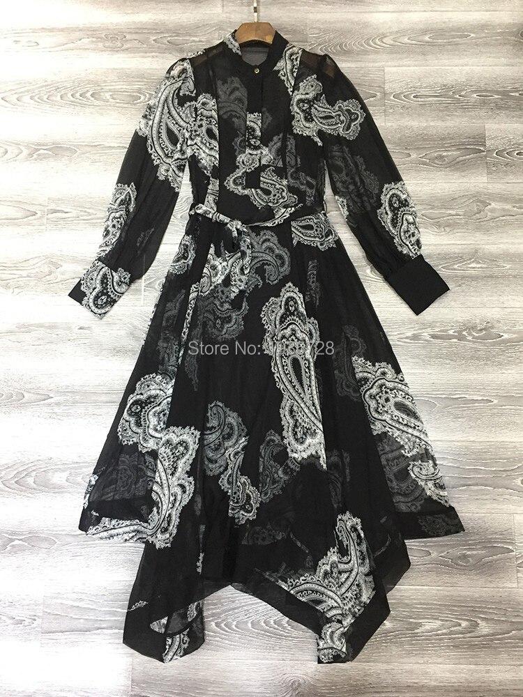 2018 Slip Imprimé Impression Correspondant femmes Irrégulière Collection Print Floral Soie Pic Élégant De Robe Whitewave Cajou dames As Cannelée Luxe PrwPpBqx