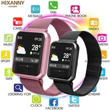 Akıllı saat P68 bant IP68 su geçirmez smartwatch dinamik kalp hızı kan basıncı monitörü iPhone Android için spor sağlık izle