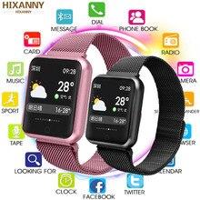 Relógio inteligente p68 ip68, smartwatch à prova d água, dinâmico, monitor de pressão sanguínea, frequência cardíaca, para iphone, android, esportes, saúde