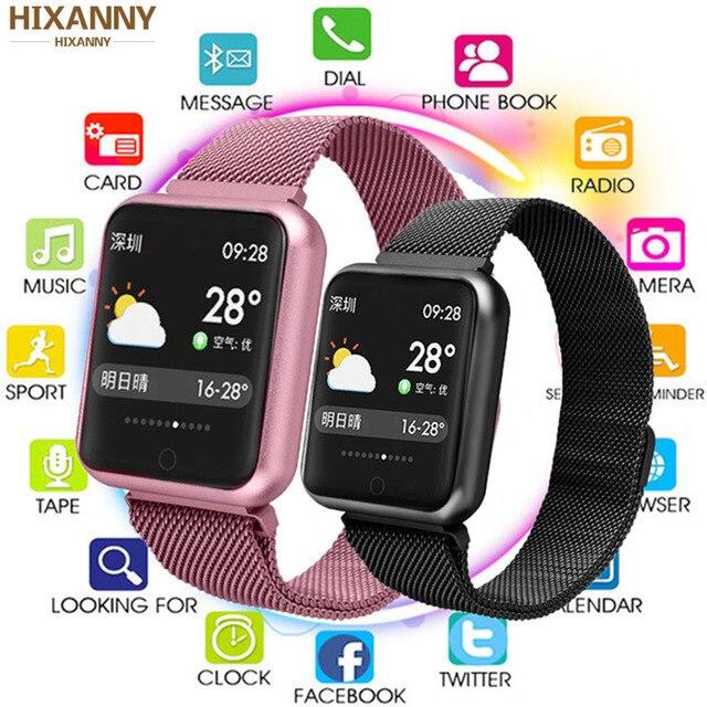 Smart uhr P68 band IP68 wasserdichte smartwatch Dynamische herzfrequenz blutdruck monitor für iPhone Android Sport Gesundheit uhr
