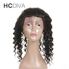 Deep Wave 360 Lace Frontal Closure Pre Plucked With Adjustable Band Non-Remy Brazilian Human Hair Closure HCDIVA Hair