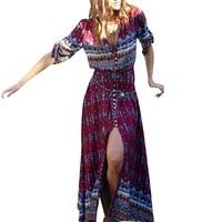 Women Bohemian Printing Maxi Long Dress Floral Print Retro Hippie Vestidos Chic Brand Clothing Boho Long