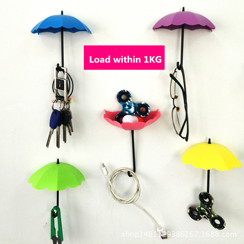 3pcs/set Umbrella Wall Hook Cute Nailless No Trace Umbrella Wall Mount Key Holder Wall Hook Hanger Organizer Durable Key Holder