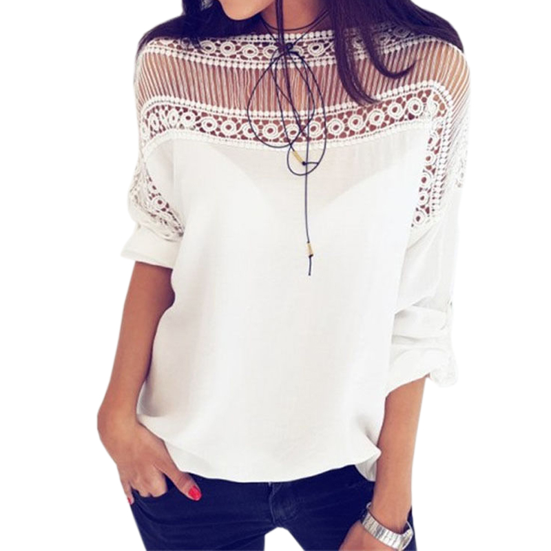 2018 New Short Sleeve Patchwork Lace Tops Solid Summer Blusas Casual Black White   Blouse   Femme Fashion Women   Blouses     Shirts   GV367