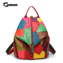 Patchwork Women Backpacks Candy Color Bags For Women 2019 Girls Shoulder Bag Fashion Brand Travel Genuine Leather Women Bags neverout women bag brand name leather bags genuine leather small backpacks girls solid bags female shoulder luxury travel bags