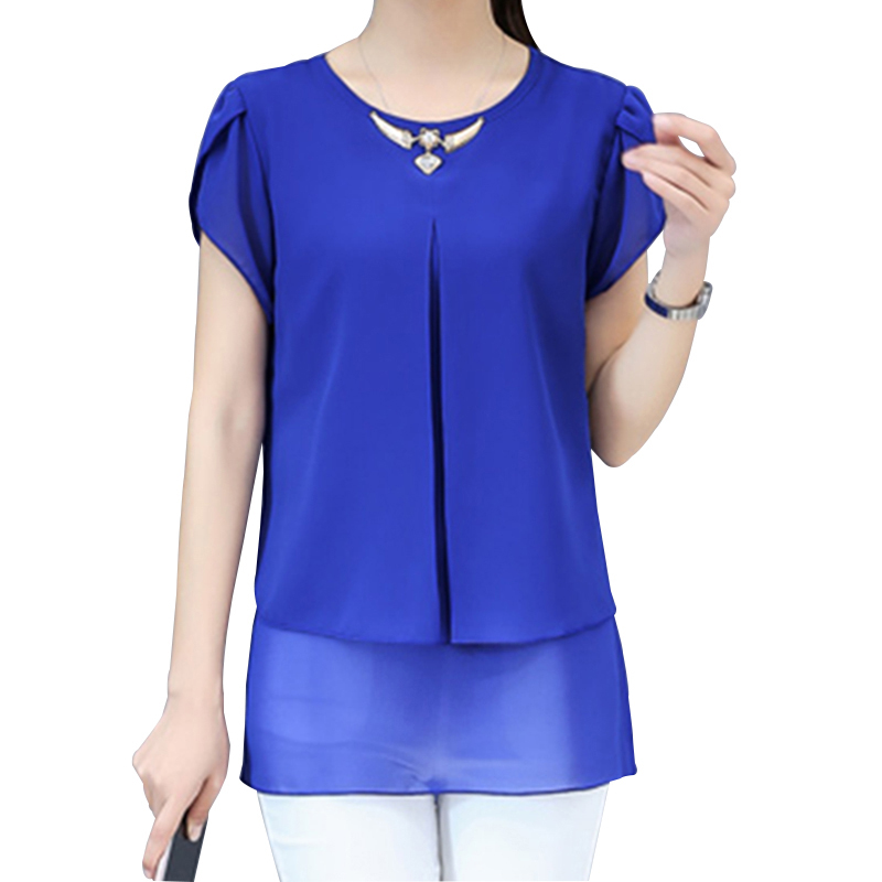 2018 New   Blouse     Shirt   Summer Style Women   Blouses   Multi Colors Casual Tops O-Neck Short Sleeve Chiffon   Shirt   Blusas Femininas Top