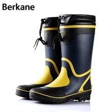 Резиновые сапоги для дождя Для мужчин зимние Рыбалка Сапоги и ботинки для девочек Высокая водонепроницаемая обувь ПВХ gummistiefel резиновая плоская Антискользящая плюс Размеры 46 Бесплатная доставка