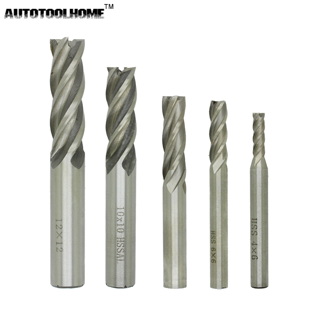 AUTOTOOLHOME High Quality 5pc 4 6 8 10 12 mm HSS Straight Shank 4 Flutes End Mill Milling CNC Cutter Drill Bits