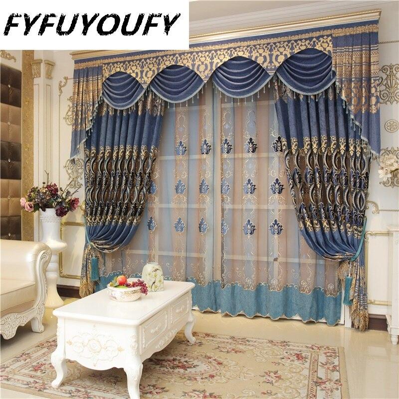 2019 hot Custom European royal blue big flower luxury curtains for