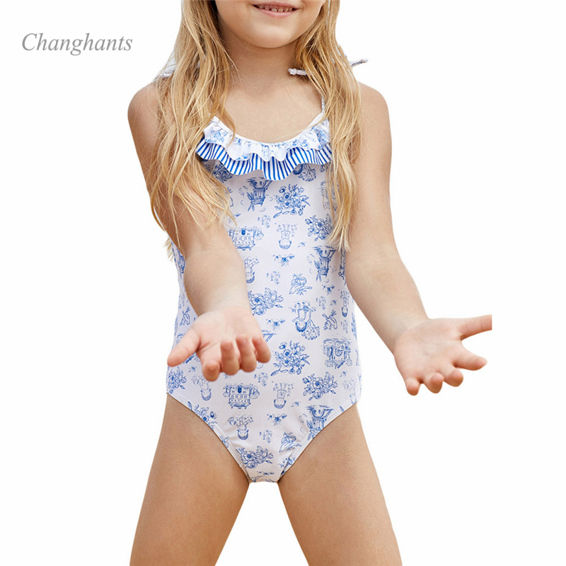 3-8 Years Children Girls One Piece Swimsuit for Girls Bathing Suit