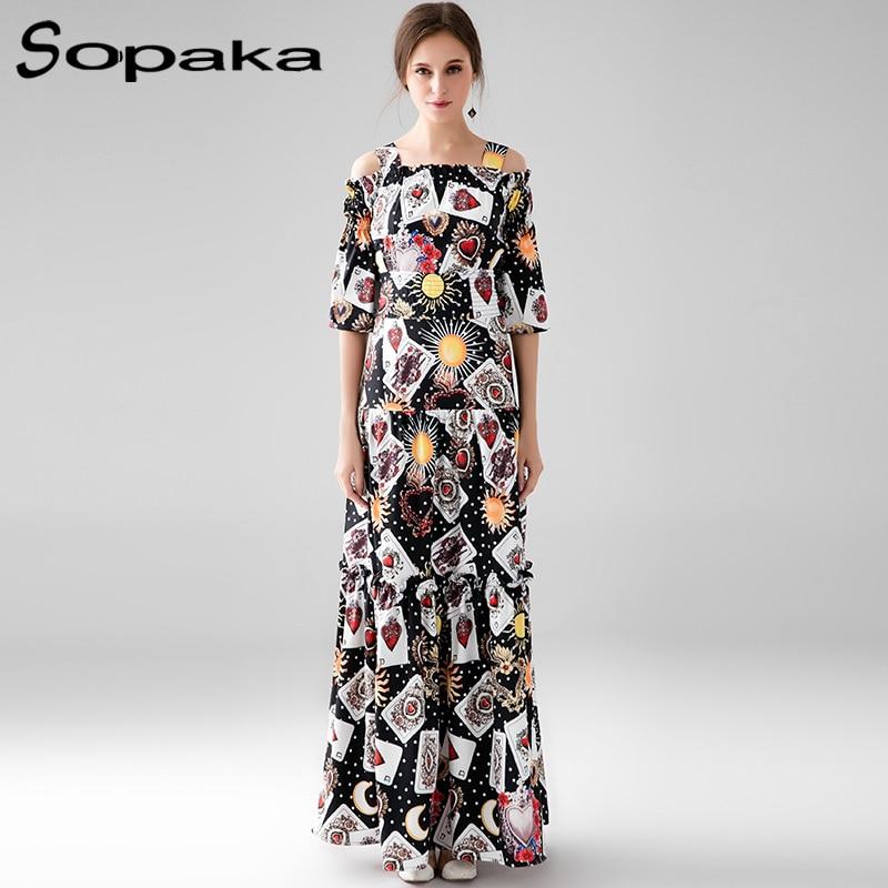 2017 Autumn Bohemian Long Dress Black Floral Printed Half Sleeve Off the Shoulder Runway Designer E Maxi Women Dresses