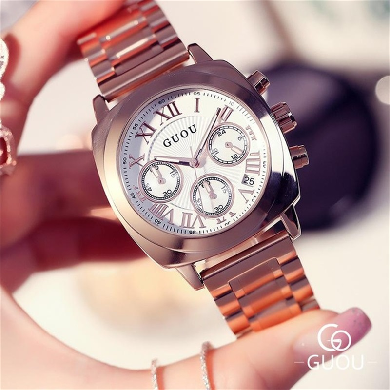 GUOU Wrist Watch Women Watches Ladies Luxury Brand Quartz Datejust Watch Female Clock Relogio Feminino Montre Femme Hodinky Saat newly design dress ladies watches women leather analog clock women hour quartz wrist watch montre femme saat erkekler hot sale