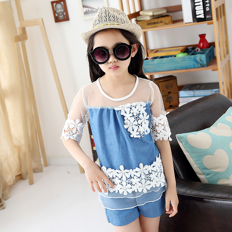 Children clothes Summer girls denim sets Lace patchwork half-sleeve t-shirts+pants Suit lace stitching Kids suits