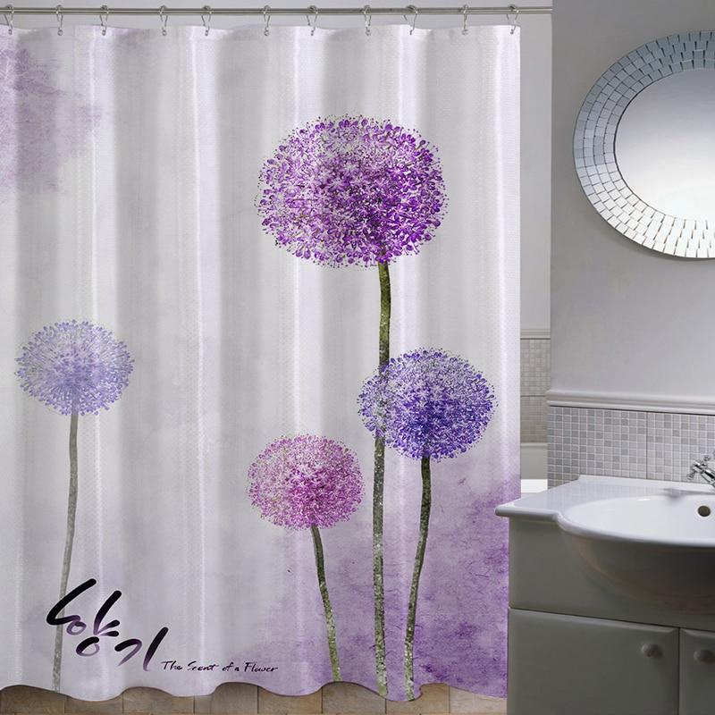 polyester thicken pastoral dandelion waterproof fabric bathroom cartoon shower curtain bath mainland