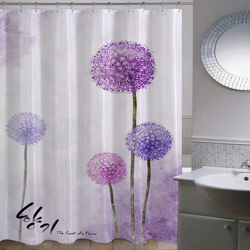 Polyester Thicken Pastoral Dandelion Waterproof Fabric Bathroom Cartoon Shower Curtain bath Curtain