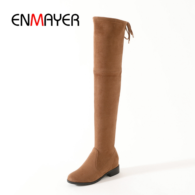 ENMAYER 2018 New fashion Women pointed toe solid square heel over-the-knee boots lady high heel boots ZYL772ENMAYER 2018 New fashion Women pointed toe solid square heel over-the-knee boots lady high heel boots ZYL772