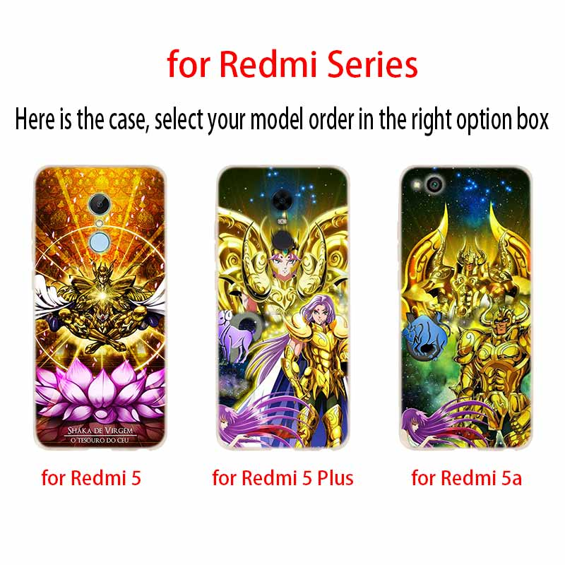 Image 3 - Saint Seiya Fashion Soft TPU Case Cover For Coque Xiaomi Redmi 8A 4A 5A 6A 4X 5 Plus 6 Pro Note 8 7 Pro 6 5Fitted Cases   -