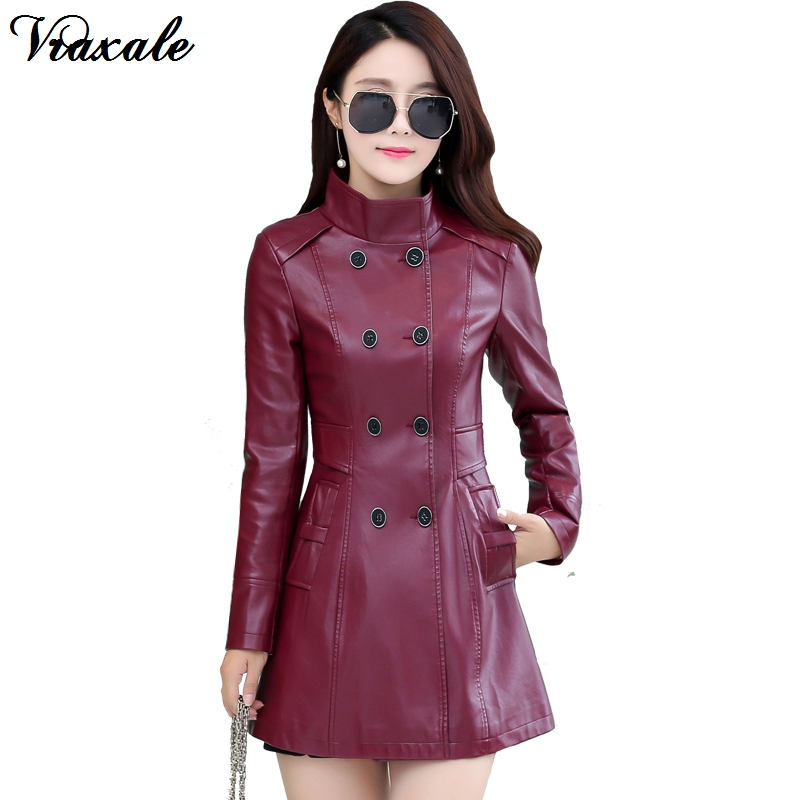 2017 Autumn Winter New Women's Stand Collar Leather Clothing Female Medium-Long Double Breasted Washed Leather Slim Trench Coat