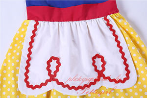 Image 4 - Pettigirl Snow White Girls Costumes Summer Dress Yellow Dot Baby Girl Cotton Dress