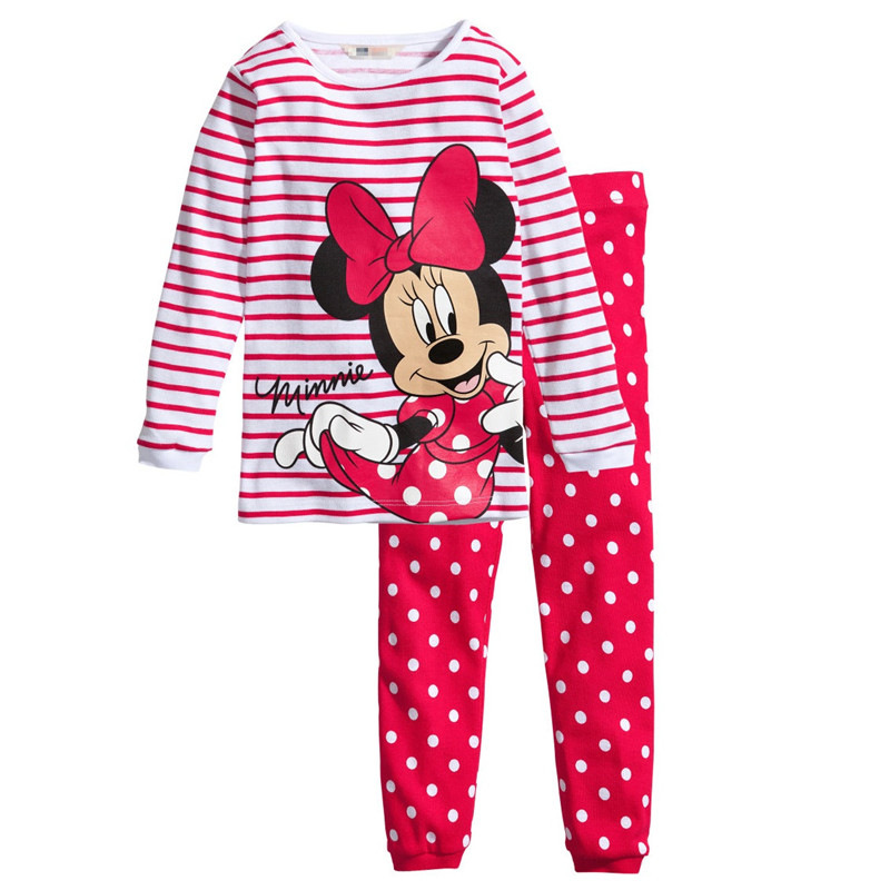 Girls   Pajamas     Sets   Children Clothing   Set   Kids   Pajamas   Baby Girls Mickey Minnie Cartoon Long Sleeved T-shirt Sleepwear Pant Suit