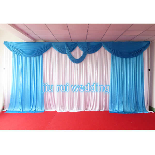 3M6M Sky Blue Swags Hot Sale White Wedding Backdrop Stage Curtains