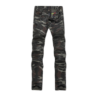 2017 Slim Fit Straight Leg Rock Jeans New Mens Camouflage Stretch Jeans Motocycle Camo Military Slim