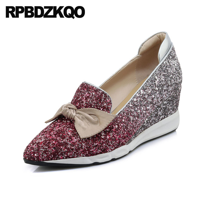 Wedge Kawaii Size 4 34 Pumps Sequin Pink Cute Women Pointed Toe Glitter Bling Wedding Shoes Japanese 2018 Bow Silver High Heels|Women's Pumps|Shoes -