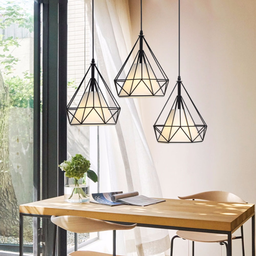 Modern Pendant Light Black Iron Hanging Cage Vintage Led Lamp Bulb E27 Industrial Loft Retro Dining Room Restaurant Bar Counter loft style vintage pendant lamp iron industrial retro pendant lamps restaurant bar counter hanging chandeliers cafe room