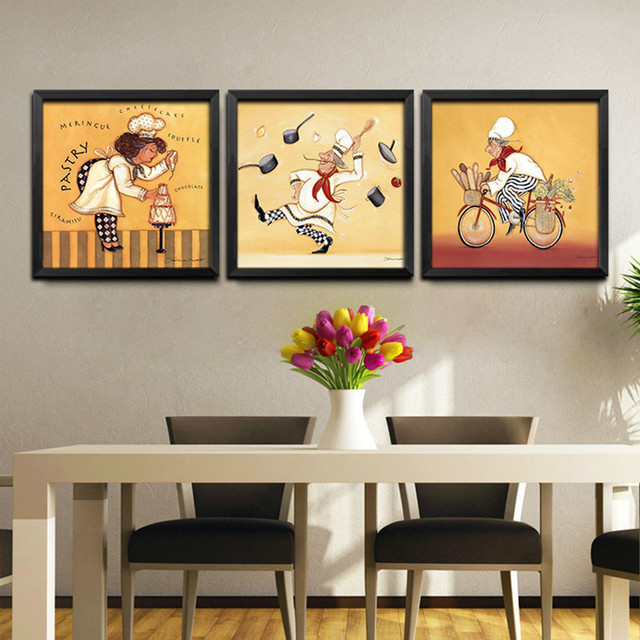 Frameless Modern Cartoon Chefs Canvas Prints Restaurant Decorative Painting Kitchen Decor Pizzeria Bakery Wall