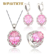 Фотография Huge Pink Topaz  925 Silver Jewelry Sets For Women Necklace/Pendant /Drop Earrings/Rings Free Jewelry Box JS117