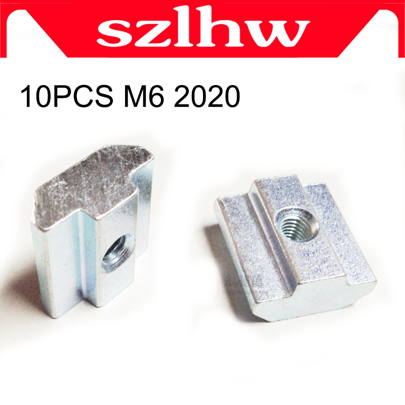 High quality 10pcs M6 T Sliding Nut Block Square High quality nuts for 2020 Aluminum Profile Slot 6 Aluminum connector Accessor