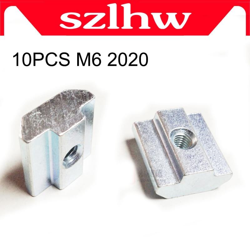 High quality 10pcs M6 T Sliding Nut Block Square High quality nuts for 2020 Aluminum Profile Slot 6 Aluminum connector Accessor