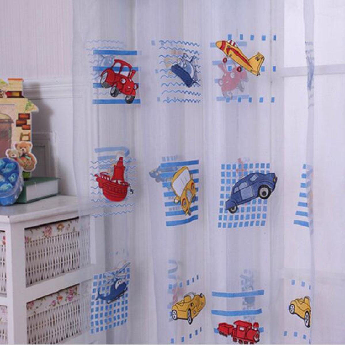 Kid car curtains - Kids Car Pattern Voile Panel Sheer Door Room Drape Window Curtains Factory Directly Sale Cute Lovely Decoration In Curtains From Home Garden On