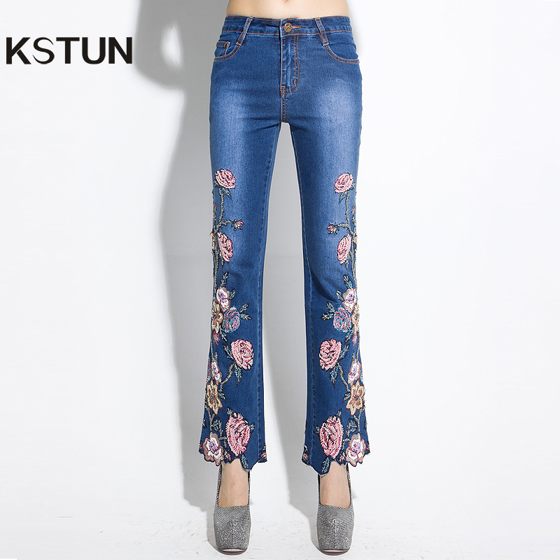 KSTUN Women's Jeans Quality Brand High Waist Embroidered Beaded Luxury Boot Cut Denim Pants Woman Sexy Club Jeans Girls Trousers 2017 spring new embroidered jeans color embroidered national wind low waist jeans trousers