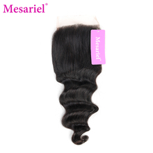 Mesariel Brazilian Remy Hair Natural Color 100% Human Hair 4×4 Swiss Lace Loose Wave Free Part Lace Closure