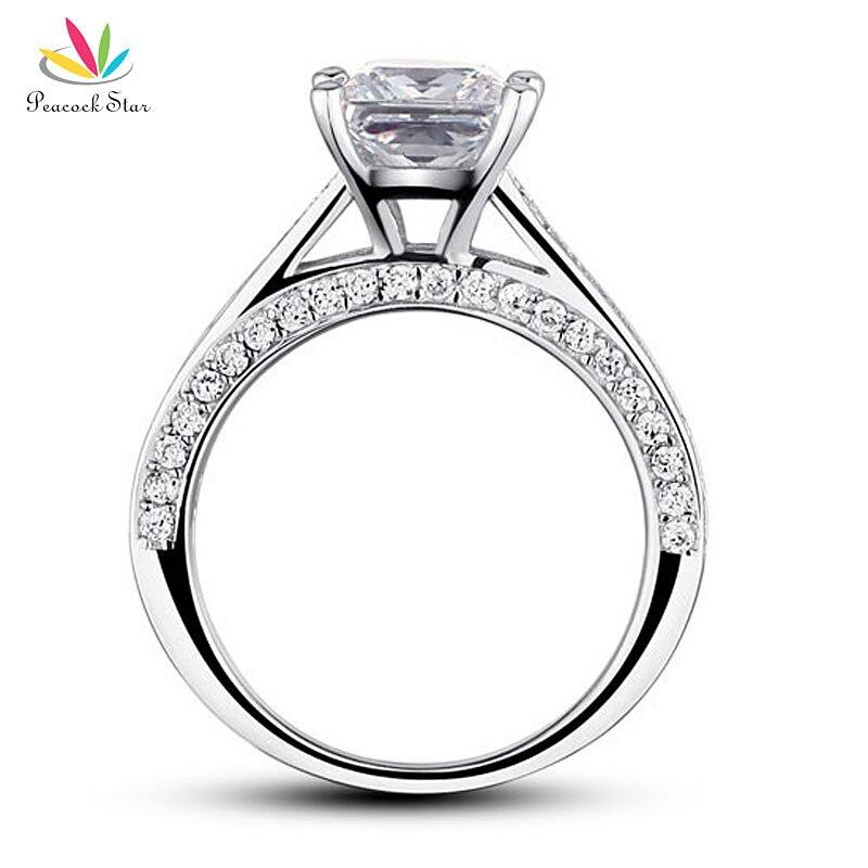 Павлин звезда 925 пробы Серебряное обручальное кольцо юбилей 1,5 карат Принцесса огранка ювелирные изделия CFR8009