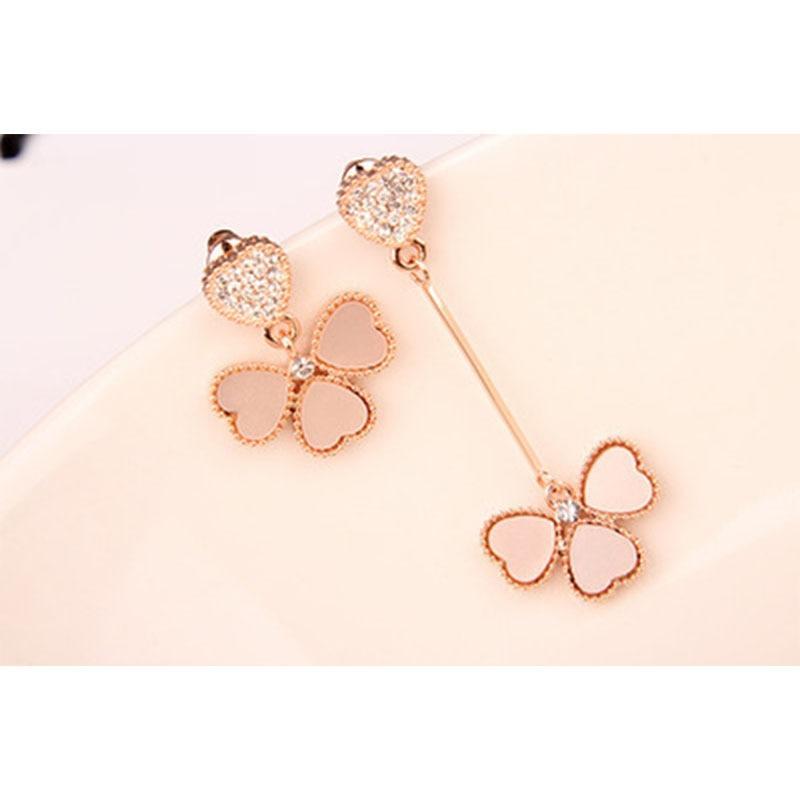 2019 New Fashion Elegant Earrings Sweet Asymmetric Ear Drop Love Clover Dangler Best Gift for Girlfriend Female Earring WD212 in Drop Earrings from Jewelry Accessories