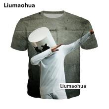 Liumaohua 2018 Unisex Cartoon Music T Shirts Tops Harajuku Hip Hop DJ Singer Marshmello 3D