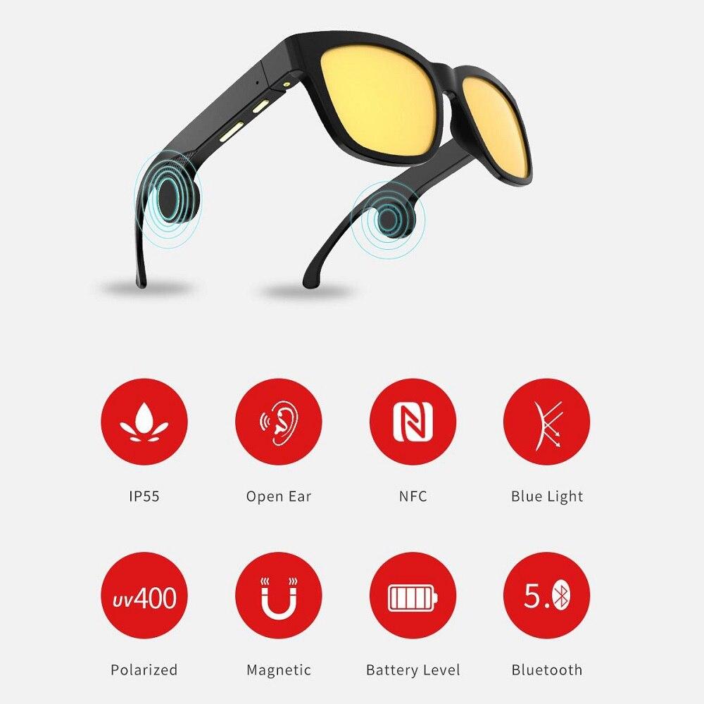 2019 nouveau casque de Conduction osseuse coloré lunettes de soleil Bluetooth lunettes intelligentes sport de santé casque sans fil avec micro
