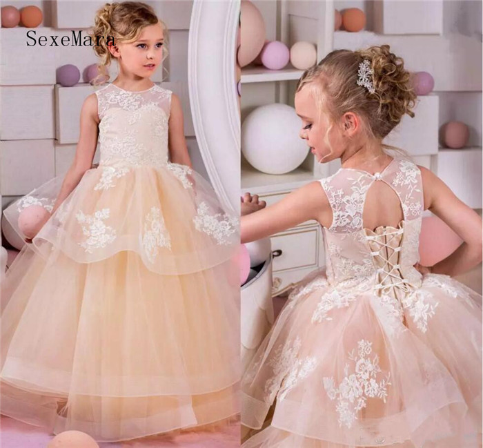 Orange Puffy Flower Girls Dresses For Weddings Jewel Organza Lace Girls Pageant Dress Open Back Lace Up Kids Birthday Gown eyelet lace up open back texture knit sweater