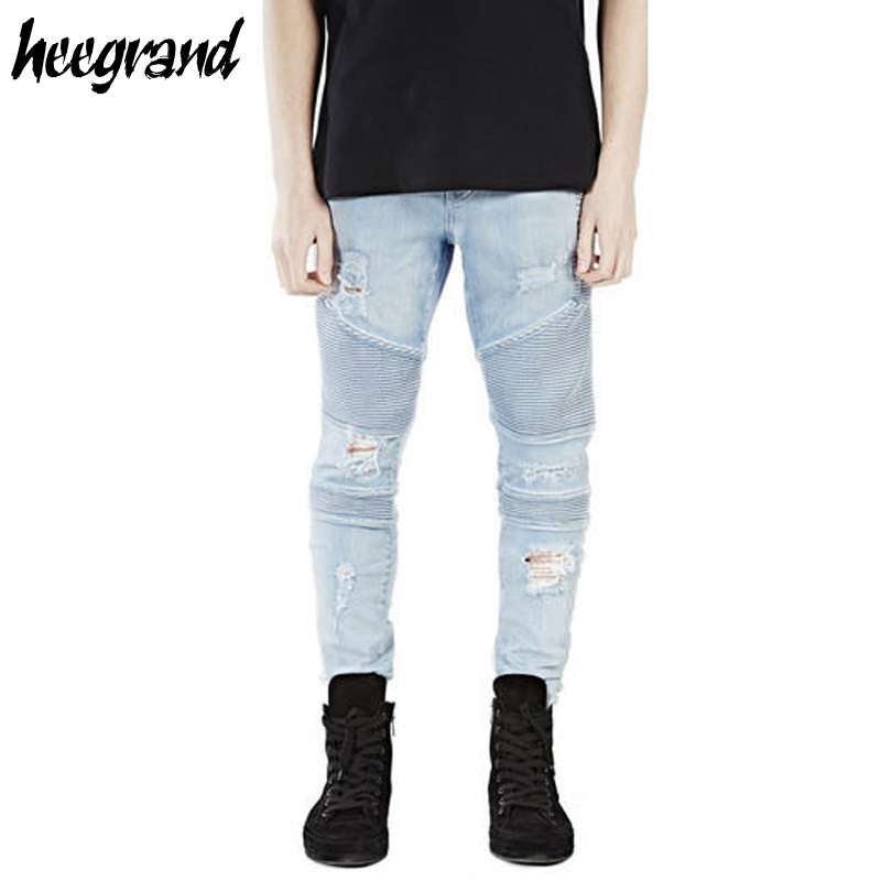 ФОТО HEE GRAND Men's Washed Jeans 2017 New Arrival Men Destroyed Hole Fashion Jeans Male Straight Denim High Quality MKN884