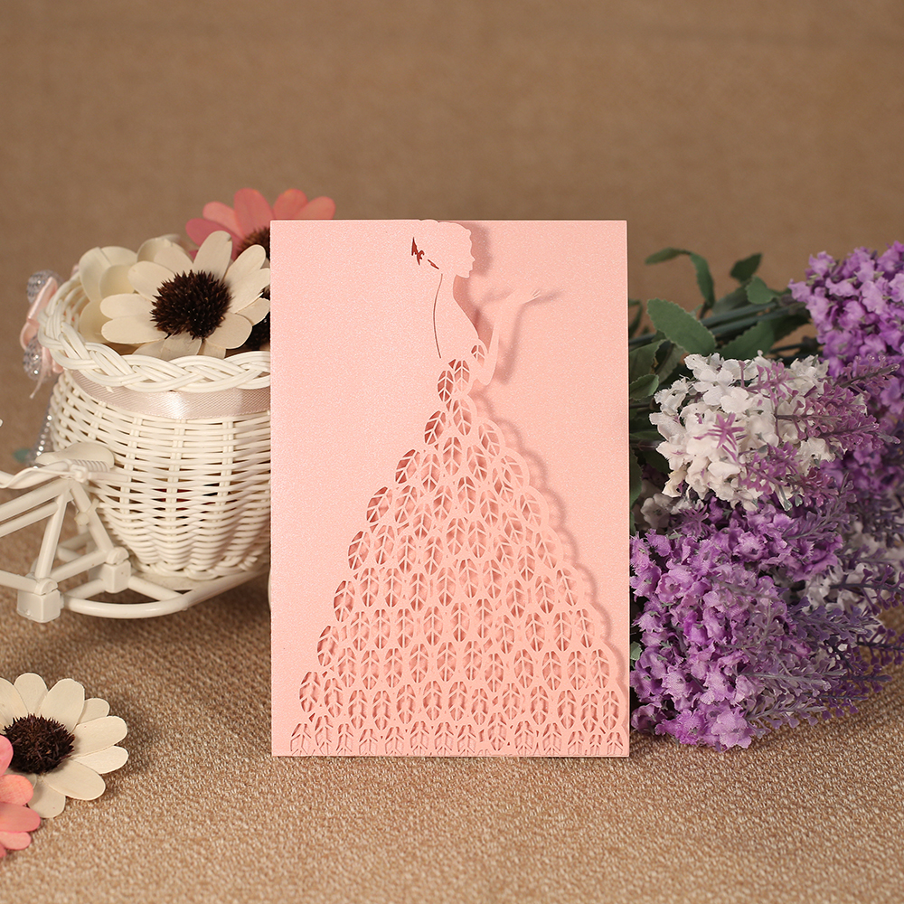 20pcs Laser Cut Wedding Invitation Card Carved Bride Pattern Pearl Paper Hollow Out  Invitation Cards Wedding Party Decoration