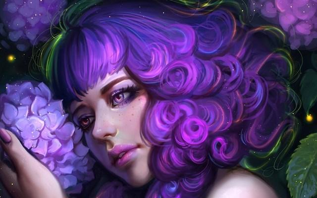 Living Room Home Wall Decoration Fabric Poster Girl Art Face Beauty Flower  Hydrangea Hair