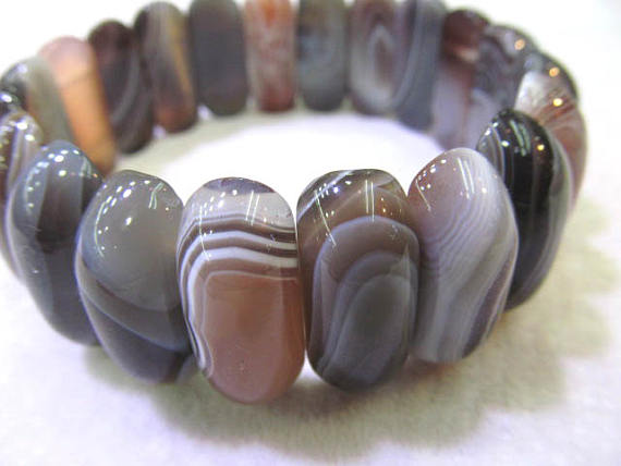 AA Grade Botswana agate Bracelet stone onyx Crystal brown grey Gemstone rectangle abong evil eyes oval agate stone 12-20mm 8inch tumbled pink botswana agate mostly 5 8 1 1lb bag