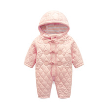 new 2016 autumn and winter baby girl cotton thick pink horns buckle long sleeved Hooded jumpsuit