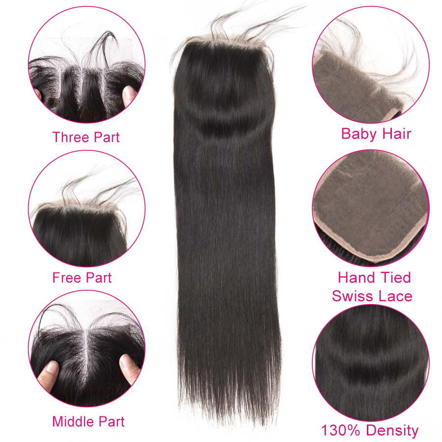 Beyo 4 x 4 Straight Human Hair Closure Free Middle Three Part Peruvian Hair Lace Closure