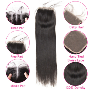 Image 2 - Beyo 4 x 4 Straight Human Hair Closure Free/Middle/Three Part Peruvian Hair Lace Closure With Baby Hair 10 24 Inch Non Remy Hair
