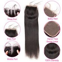 Beyo 4 x 4 Straight Human Hair Closure Free/Middle/Three Part Peruvian Hair Lace Closure With Baby Hair 10-24 Inch Non Remy Hair